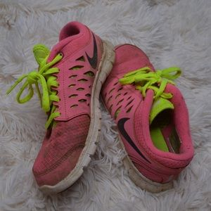 Worn running shoes